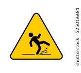 wet floor sign  yellow triangle ... | Shutterstock .eps vector #525016681
