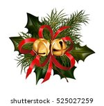 christmas decorations with fir... | Shutterstock .eps vector #525027259
