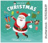 vintage christmas poster design ... | Shutterstock .eps vector #525028639