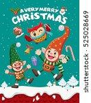 vintage christmas poster design ... | Shutterstock .eps vector #525028669