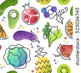 seamless fruit and vegetables... | Shutterstock .eps vector #525036745