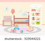 baby room interior. flat design.... | Shutterstock .eps vector #525044221