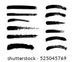 set of black paint  ink brush... | Shutterstock .eps vector #525045769
