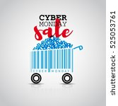 cyber monday simple card desing ... | Shutterstock .eps vector #525053761