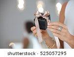 female hands holding small... | Shutterstock . vector #525057295