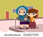 illustration of a kid girl... | Shutterstock .eps vector #525057355