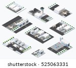 isometric set 3d airstrip of... | Shutterstock .eps vector #525063331
