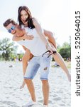 playful couple enjoying their... | Shutterstock . vector #525064015