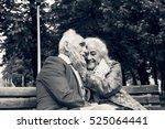 black and white photo. elderly...   Shutterstock . vector #525064441