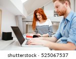 colleagues working studying in... | Shutterstock . vector #525067537