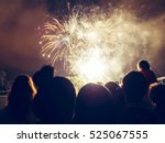 crowd watching fireworks and... | Shutterstock . vector #525067555
