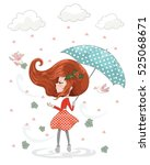 romantic cute girl with... | Shutterstock .eps vector #525068671
