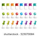flags and pins in different... | Shutterstock .eps vector #525070084