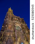 Small photo of View of Strasbourg Cathedral from ground. Alsace, France