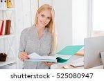 cheerful smiling businesswoman... | Shutterstock . vector #525080947