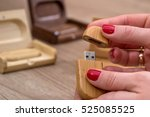 Hands Opening Wood Usb Flash...