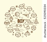 boy minimal thin line icons set ... | Shutterstock .eps vector #525090334