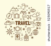 travel minimal thin line icons... | Shutterstock .eps vector #525090517