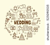 wedding minimal thin line icons ... | Shutterstock .eps vector #525090535