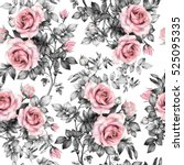 Seamless pattern with pink flowers and leaves on white background, watercolor floral pattern, flower rose in pastel color, seamless flower pattern for wallpaper, card, fabric