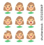set of emoji character. cartoon ... | Shutterstock .eps vector #525103069