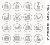 buildings thin line icon set | Shutterstock .eps vector #525107011