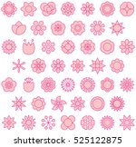 pink flowers filled line icons | Shutterstock .eps vector #525122875