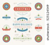 christmas labels and badges... | Shutterstock .eps vector #525124549