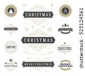 christmas labels and badges... | Shutterstock .eps vector #525124561