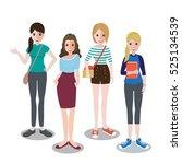 cute cartoon girls in autumn... | Shutterstock .eps vector #525134539