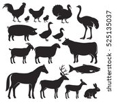 farm animals silhouette icons.... | Shutterstock .eps vector #525135037