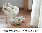 white open toe wedding shoes... | Shutterstock . vector #525135217