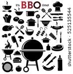 grill  barbecue icon set on... | Shutterstock .eps vector #525135544