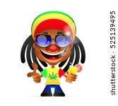 jamaican hat. spliff smoking... | Shutterstock .eps vector #525139495