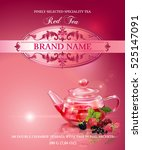 vector red tea banner with... | Shutterstock .eps vector #525147091