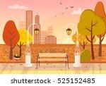 autumn city park at sunset.... | Shutterstock .eps vector #525152485