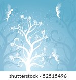 Magic flower pattern with fairies on the blue background. - stock vector