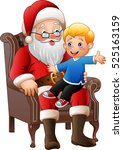 santa claus sitting with a... | Shutterstock .eps vector #525163159