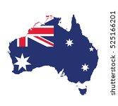 map and flag of australia | Shutterstock .eps vector #525166201