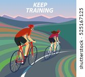 pair of cyclists  riding on the ...   Shutterstock .eps vector #525167125