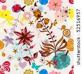 vector retro floral  seamless... | Shutterstock .eps vector #52516957
