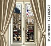 france  paris  window opening... | Shutterstock .eps vector #525183529