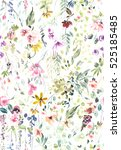 Stock photo hand painted watercolor allover seamless flowers and plants 525185485