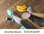athletic girl with healthy food ... | Shutterstock . vector #525192649