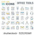 set vector line icons in flat... | Shutterstock .eps vector #525193369