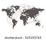 map of the world with points of ... | Shutterstock .eps vector #525193765