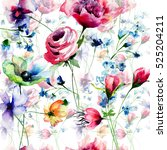 summer seamless pattern with... | Shutterstock . vector #525204211