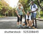 senior people jogging park... | Shutterstock . vector #525208645