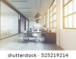 front view of a row of tables... | Shutterstock . vector #525219214