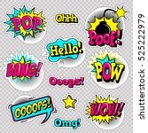 fashion patch badges with lips  ... | Shutterstock .eps vector #525222979
